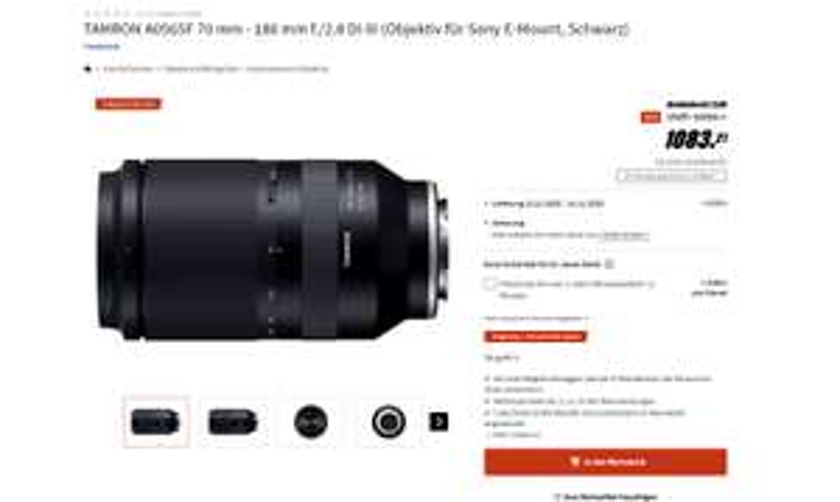 TAMRON 70 mm - 180 mm f./2.8 Di III Media Markt / Saturn Singles Day / E-Mount
