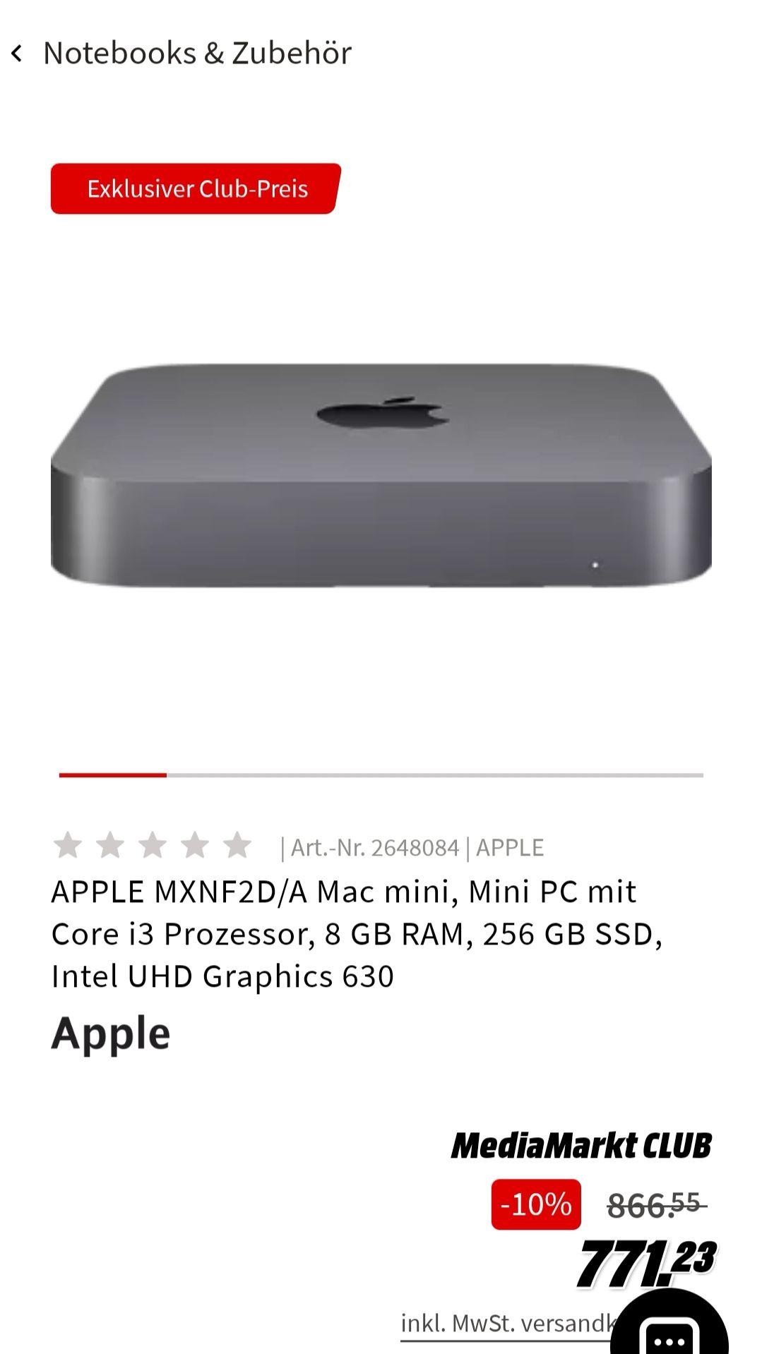 Apple Mac Mini i3, 8 GB RAM, 256 GB SSD