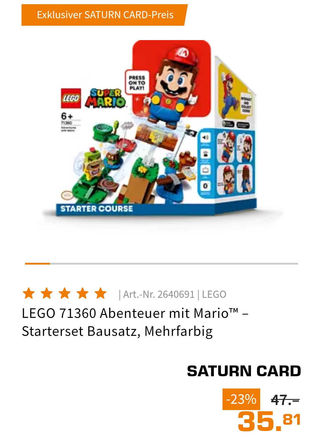 [Saturn Card Inhaber / Mediamarkt Clubmitglieder] Lego 71360 Abenteuer mit Mario (Filialabholung)