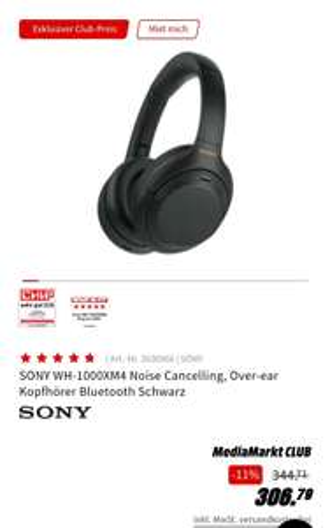 """Sony WH-1000XM4 kabellose Bluetooth Noise Cancelling Kopfhörer Media Markt nur """"Club Mitglieder!"""""""