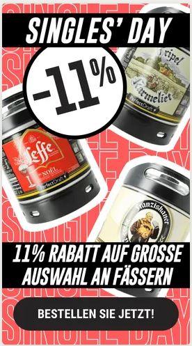 PerfectDraft Bier Singles day. Zusätzlicher Rabatt von 11% (zusätzlich zum normalen Rabatt) auf Fässer und Maschinen