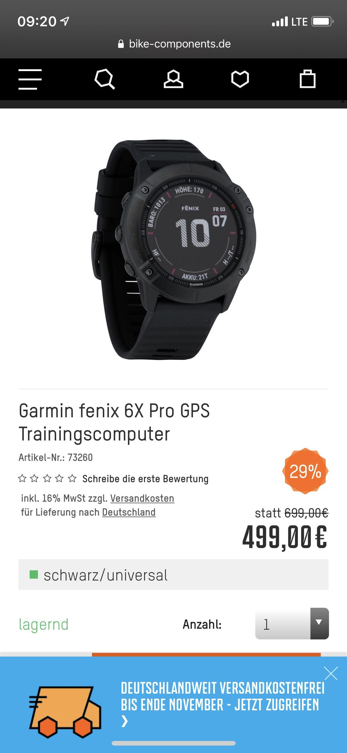 Amazon und Bike-Components: Garmin Fenix 6X Pro Premium-GPS-Multisportuhr