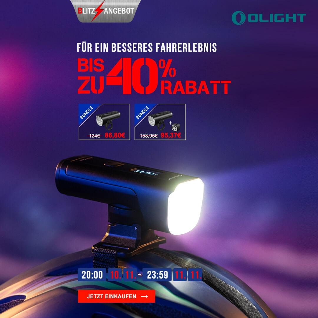 Olight ALLTY 2000 Helmleuchte / Fahrradlicht mit 2000 Lumen, OLED Display, bis zu 14,5 Stunden Laufzeit
