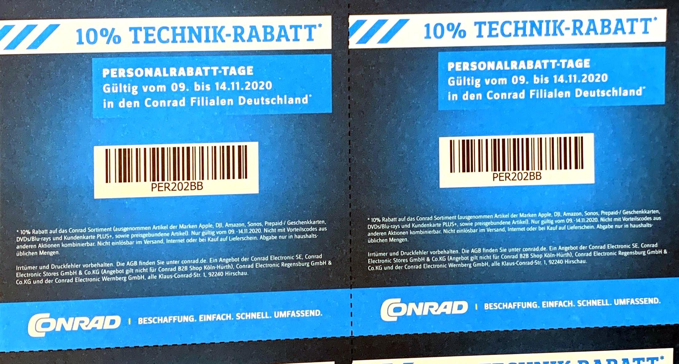 CONRAD: 10% Technik-Rabatt (Personalrabatt-Tage)