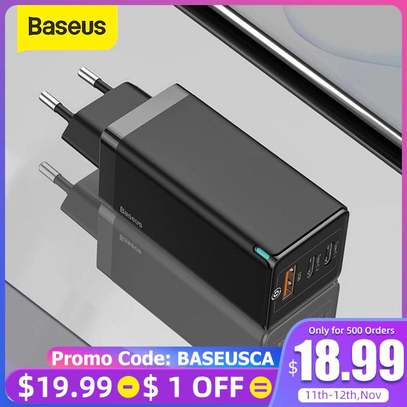 Baseus 65W GaN Pro 2xUSB-C 1xUSB-A PD QC4.0 Ladegerät + 100W USB-C PD Kabel