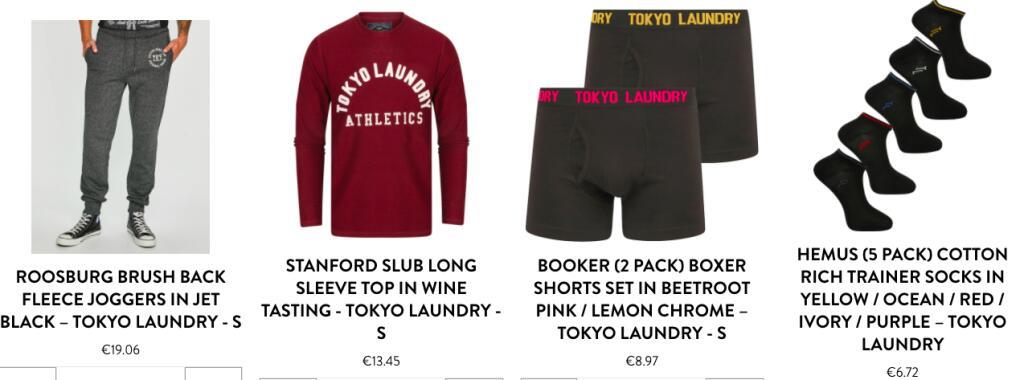 Tokyo Laundry Bundle: 1x Jogger, 1x Long Sleeve, 2x Boxershort und 5 Paar Socken für