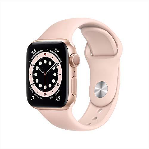 Apple Watch Series 6 (GPS, 40 mm) Aluminiumgehäuse Gold, Sportarmband Sandrosa