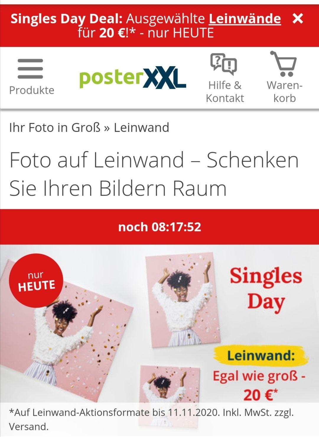 Singles Day Poster XXL alle ausgewählten Leinwände, Aktionsgrößen für 20€