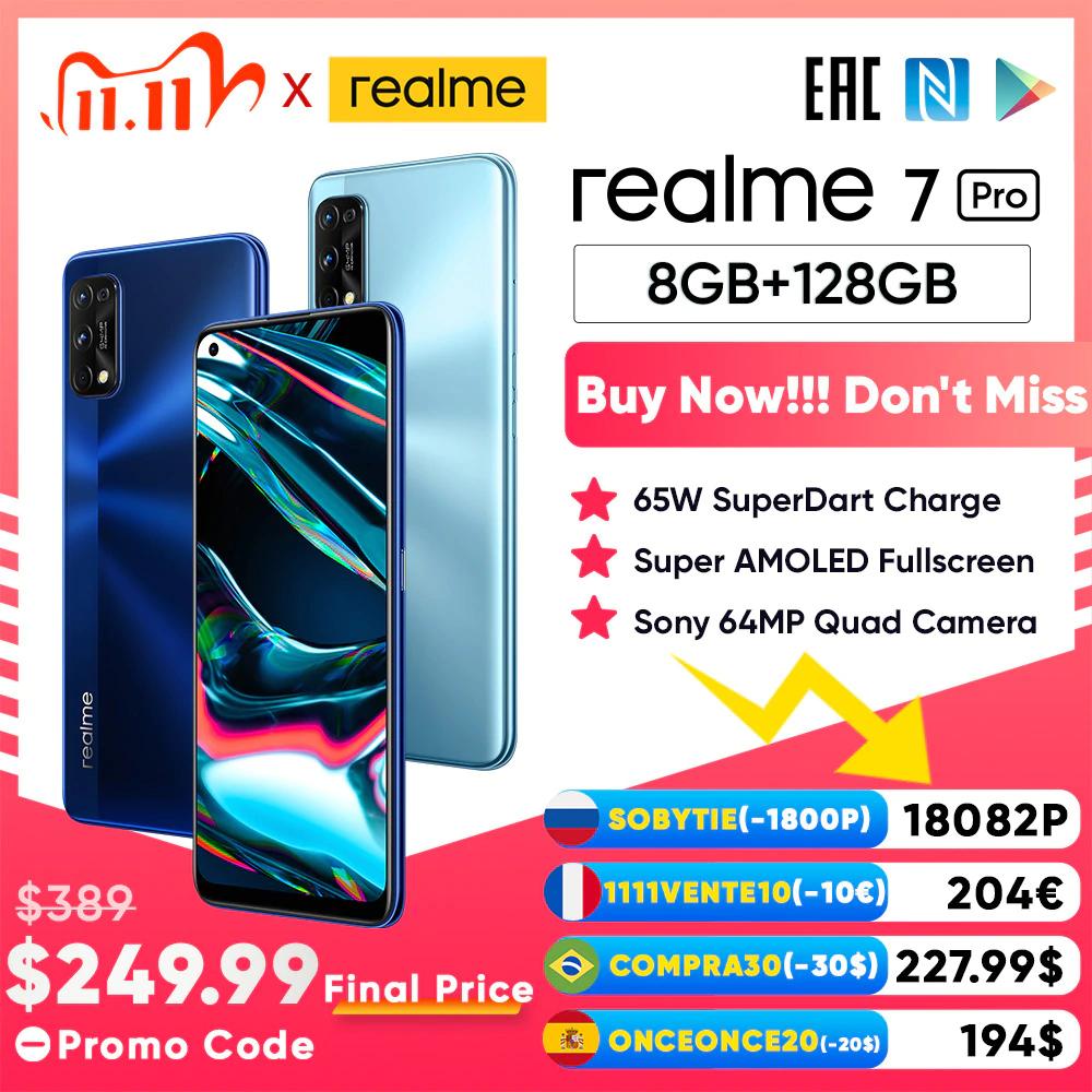 Realme 7 Pro 8GB RAM 128 GB ROM Globale Version Smartphone zum Bestpreis