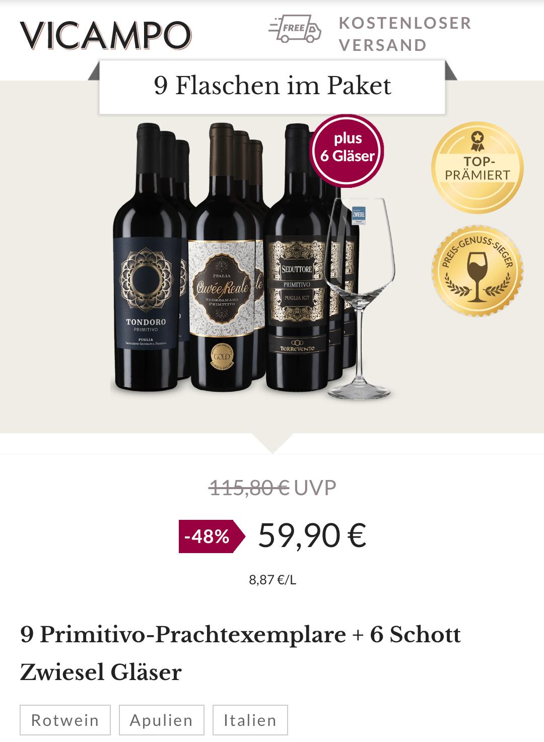 9 Primitivo Wein + 6 Schott Zwiesel Gläser