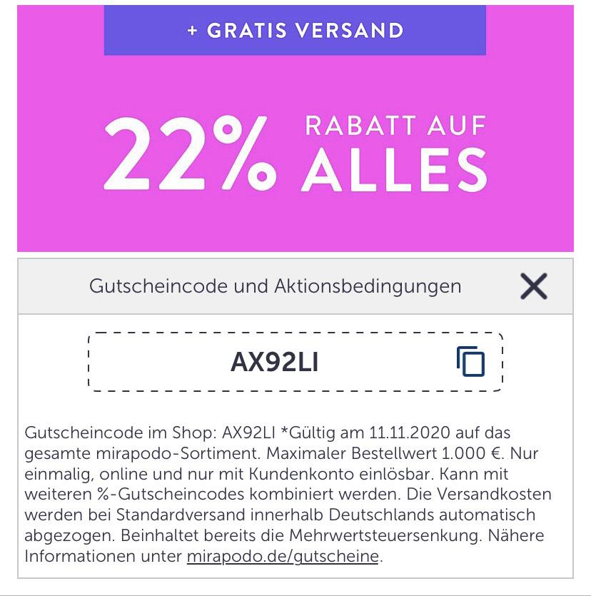 Mirapodo 22% auf alles und versandkostenfrei