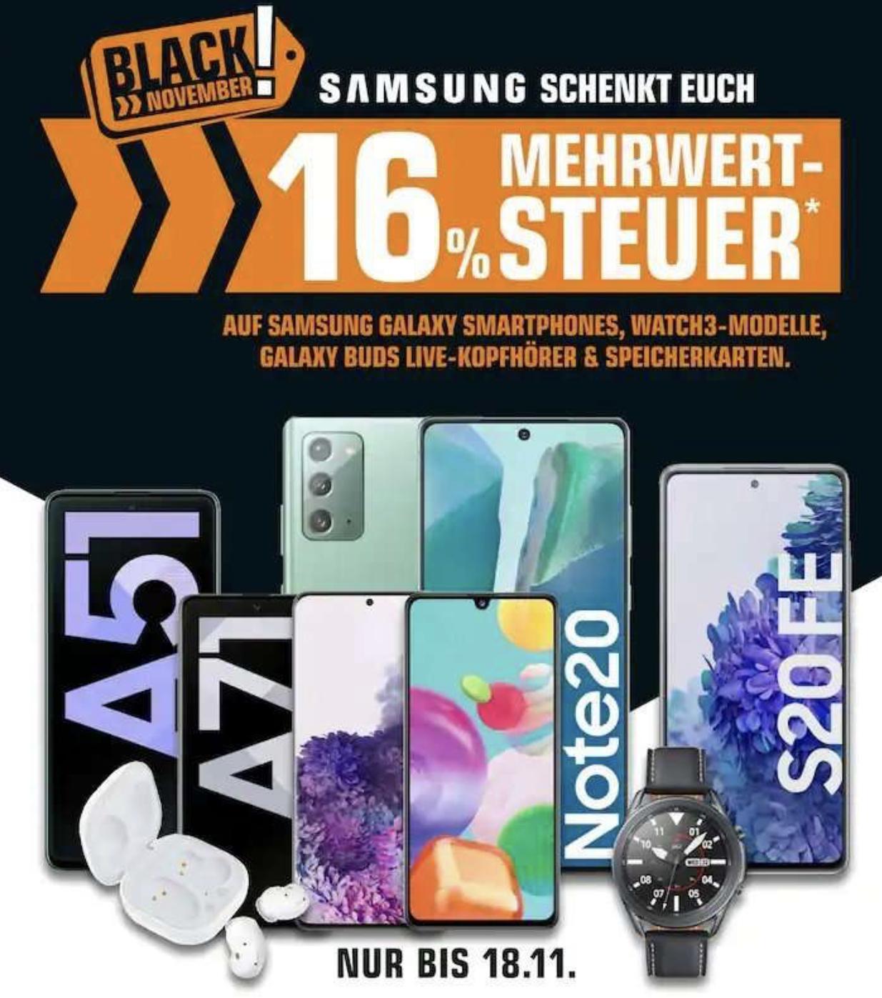 SATURN: 16% Mwst. geschenkt auf Samsung Galaxy Smartphones, Watch3 Modelle, Speicherkarten usw. (=13,793% Rabatt)