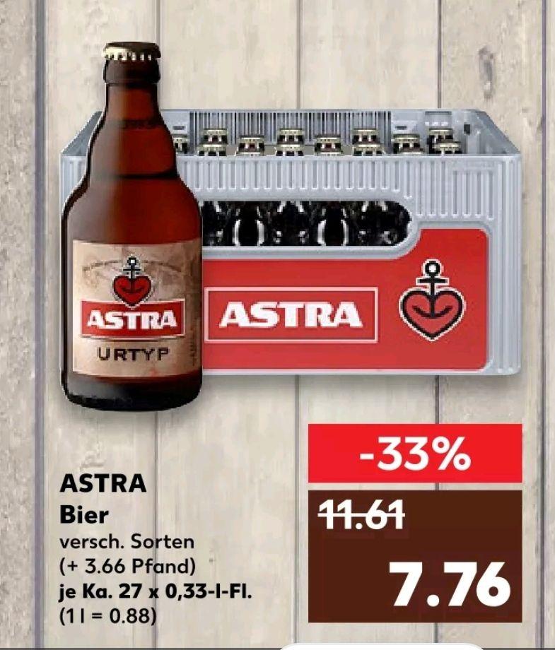 [lokal? Kaufland] Bierkasten Astra (27 Flaschen à 0,33 l) für 7,76 € (zzgl. 3,66 € Pfand)