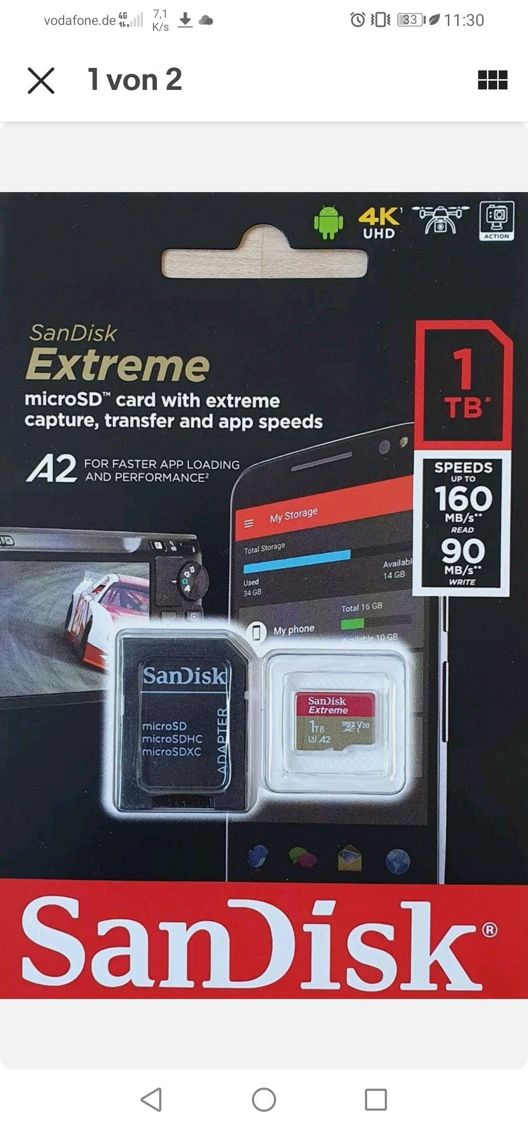 SanDisk Extreme 1TB A2 U3 V30 microSD