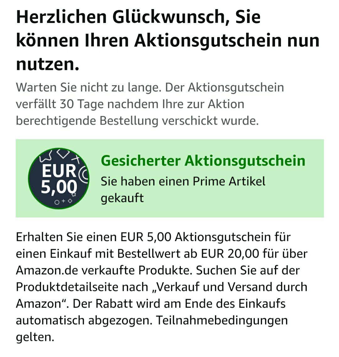 Amazon 5€ gutschein ab 20€