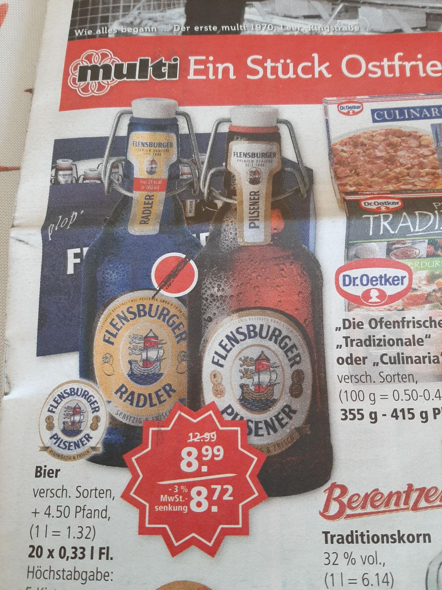 Lokal - Multi Verbrauchermärkte in Emden und Leer (Ostfriesland) - Flensburger (versch. Sorten) 20 x 0,33 Liter 8,72 Euro