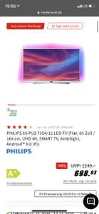 PHILIPS 65 PUS 7354/12 LED-TV (Flat, 65 Zoll / 164 cm, UHD 4K, SMART TV, Ambilight, Android™ 9.0 (P))