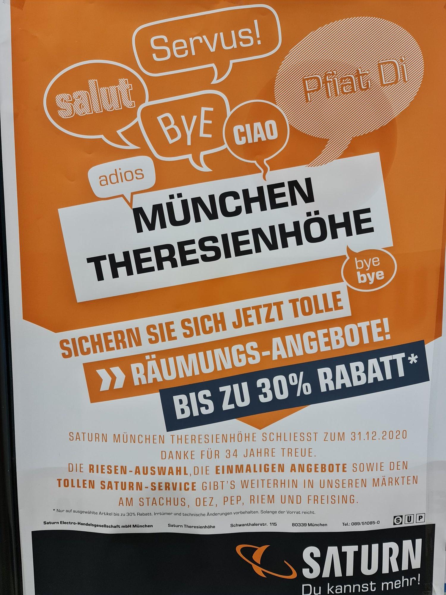 (Lokal München) Saturn Theresienhöhe Räumungsverkauf bis zu 30%