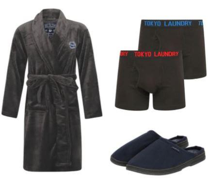 [Tokyo Laundry] Herren Bademantel (Größen M bis XL) + 2er-Pack Boxershorts ODER Hausschuhe