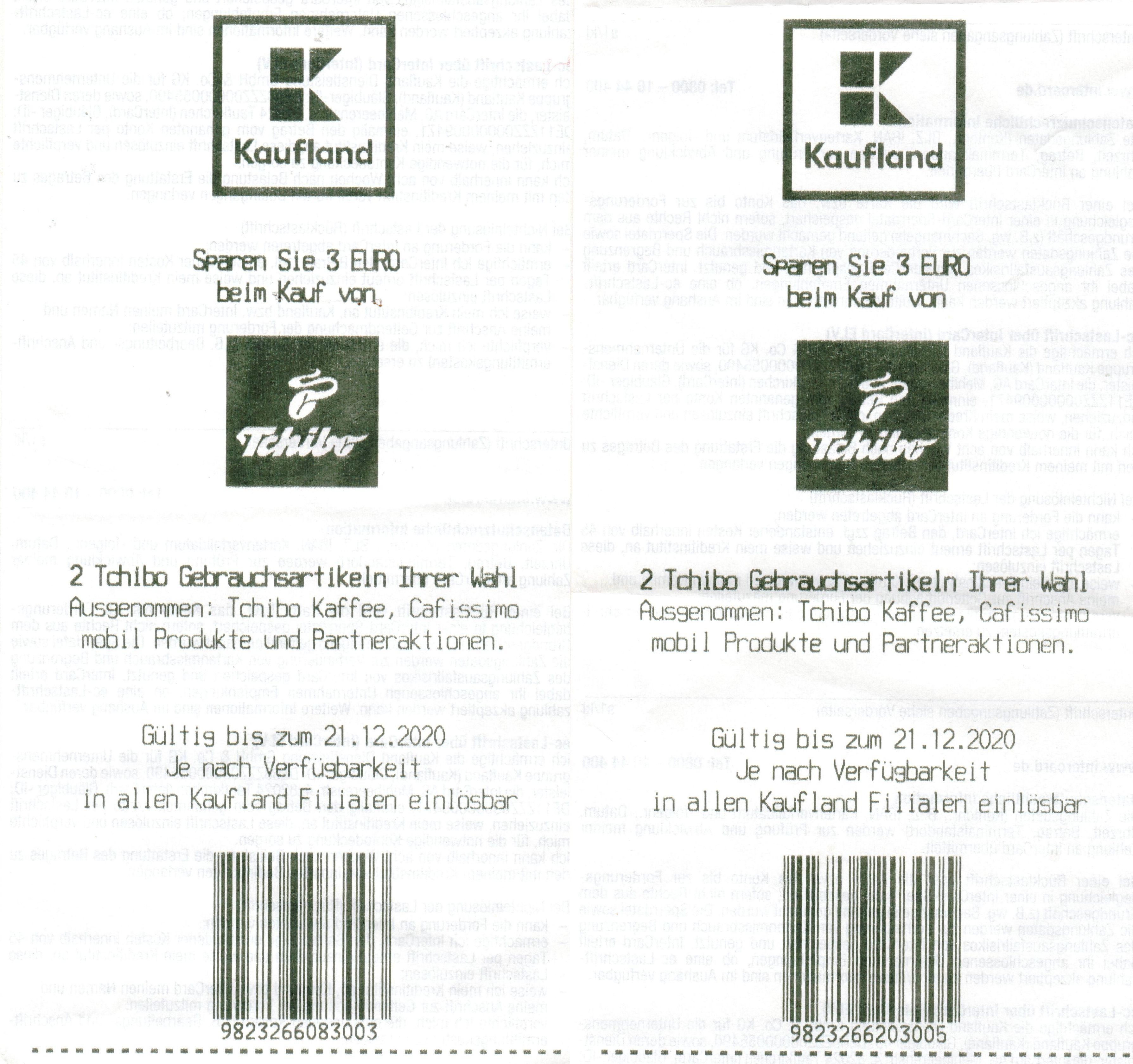 [KAUFLAND] 2x 3€ Coupon für 2x Tchibo Gebrauchsartikel bis 21.12.2020 // 1x bis 08.12.2020