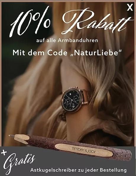 Timber & Jack 10% Rabatt auf Armbanduhren (mit Holz aus DE)