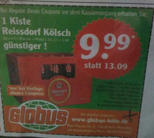 [Lokal Köln / Globus Marsdorf] Kasten Reissdorf für nur 10,69€