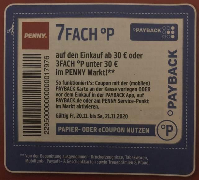 Penny 7 fach Payback auf den gesamten Einkauf ab 30 Euro