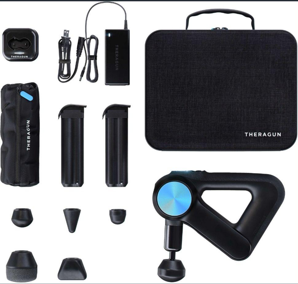 Theragun Pro Blue Massagegerät Massagepistole mit Zubehör 2 Akkus 6 Aufsätze mit Bluetooth