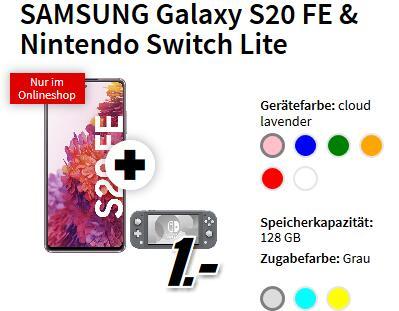 Samsung Galaxy S20 FE alle Farben & Nintendo Switch Lite für 1€ einmalig und 29,99€ monatlich im O2 Free M 20GB LTE Max