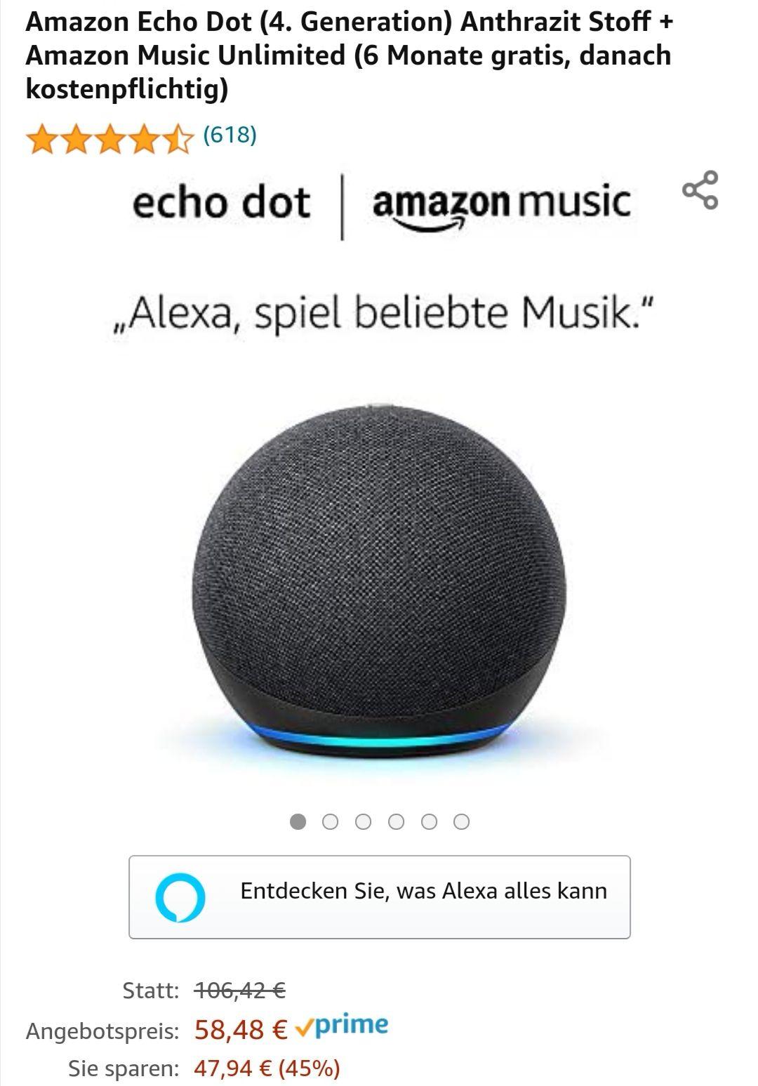 [Amazon] [Neukunde/ggf. auch ohne aktives Abo] neuer ECHO Dot 4. Generation + 6 Monate Music unlimited