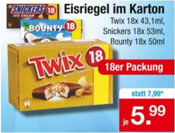 Twix, Snickers oder Bounty Eisriegel, 18 Stück im Karton für je 5,99 Euro [Zimmermann (regional)]