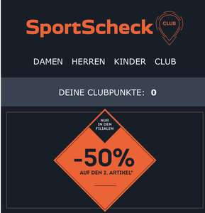 [Filialen] SportScheck 50% auf 2. Artikel