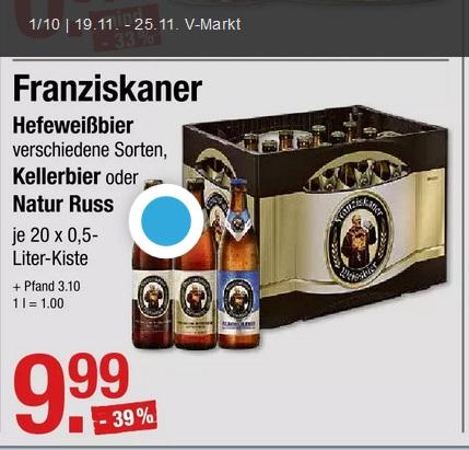 [V-Markt] Franziskaner Hefeweißbier - Kellerbier - Natur Russ