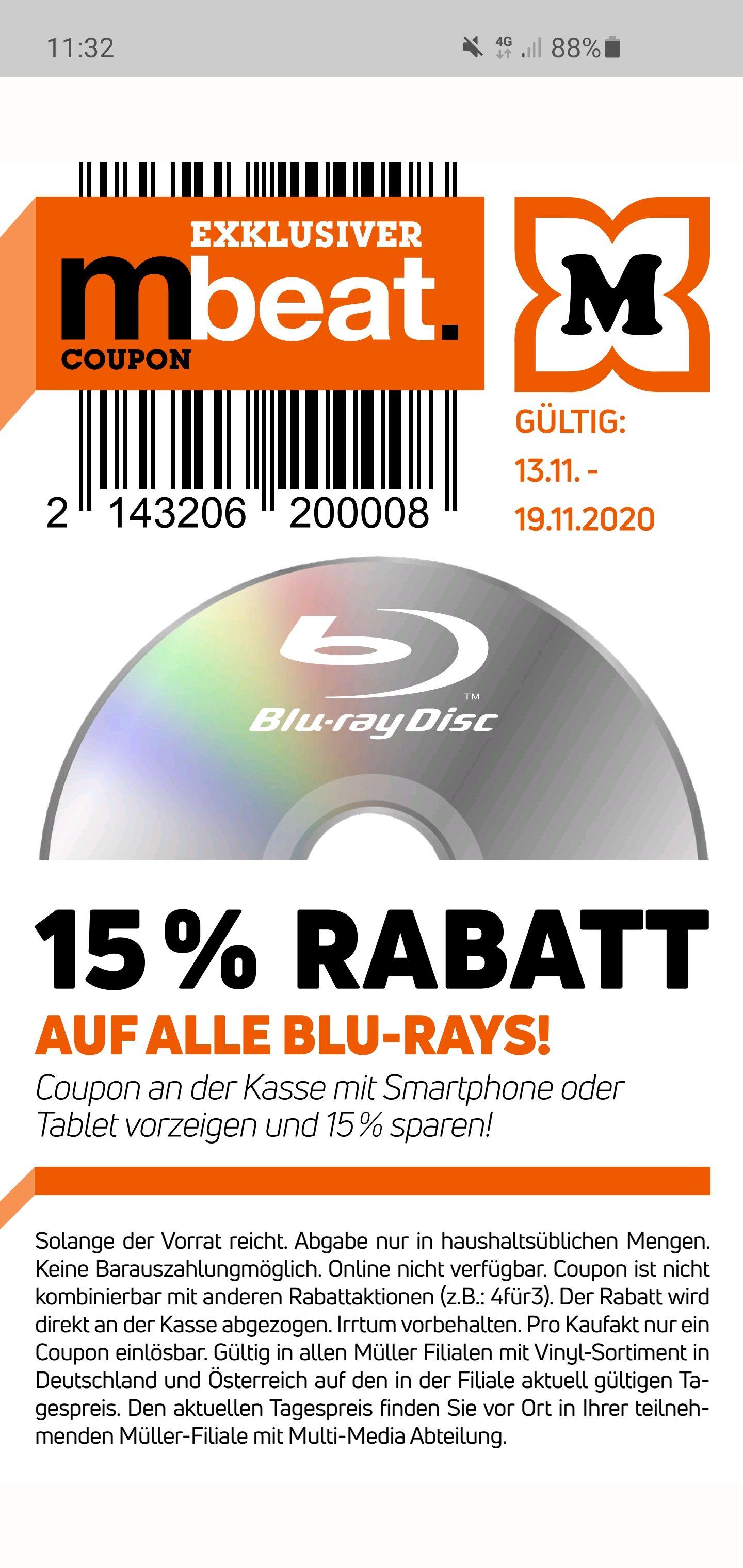 Nur vor Ort!!! Nicht Online! Über die mbeat Digital MüllerApp 15% auf alle BluRays bei Drogeriemarkt Müller