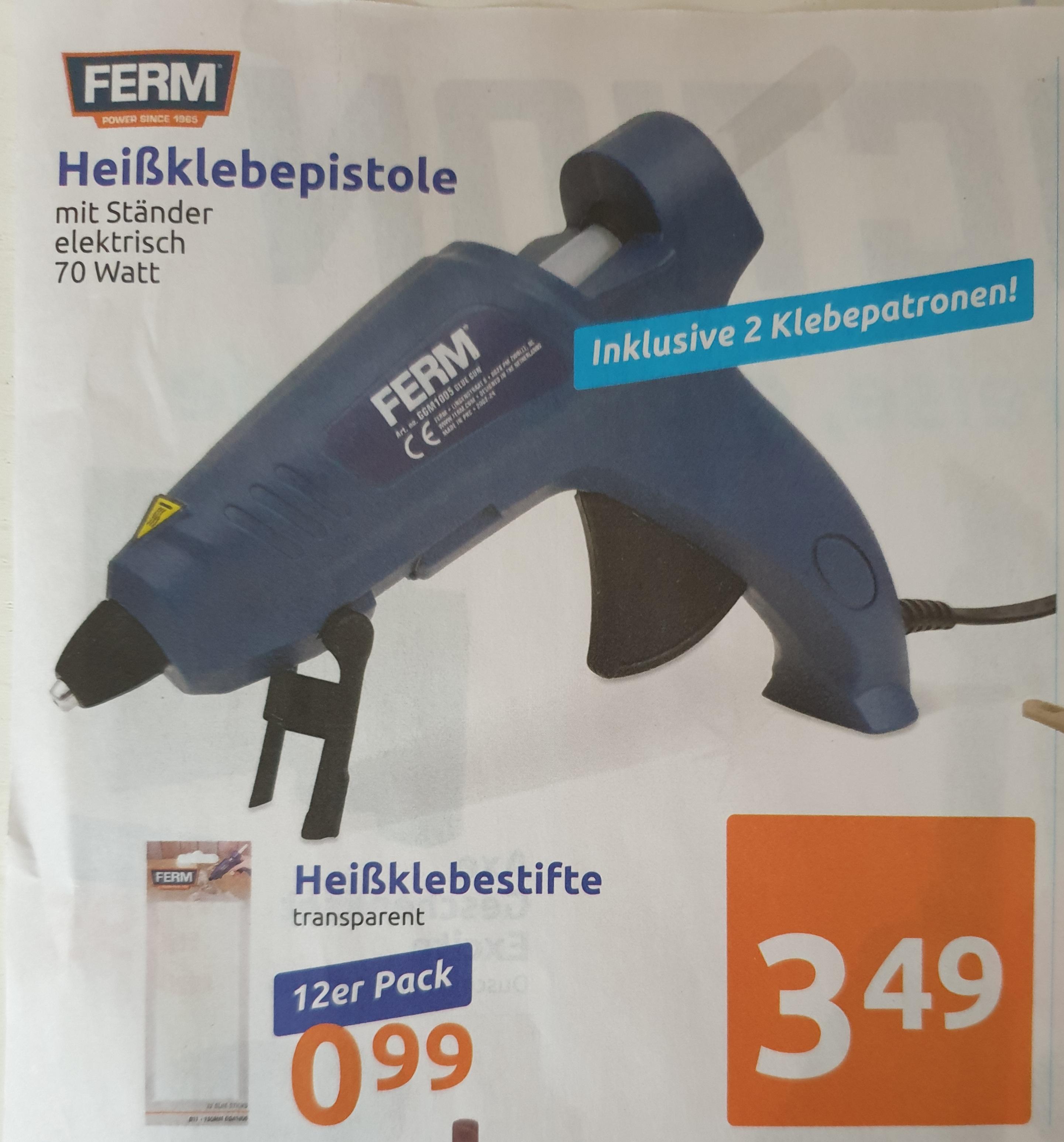 [ Action ] FERM Heißklebepistole mit Ständer 70W / Heißklebestifte transparent 12er Pack 0,99€