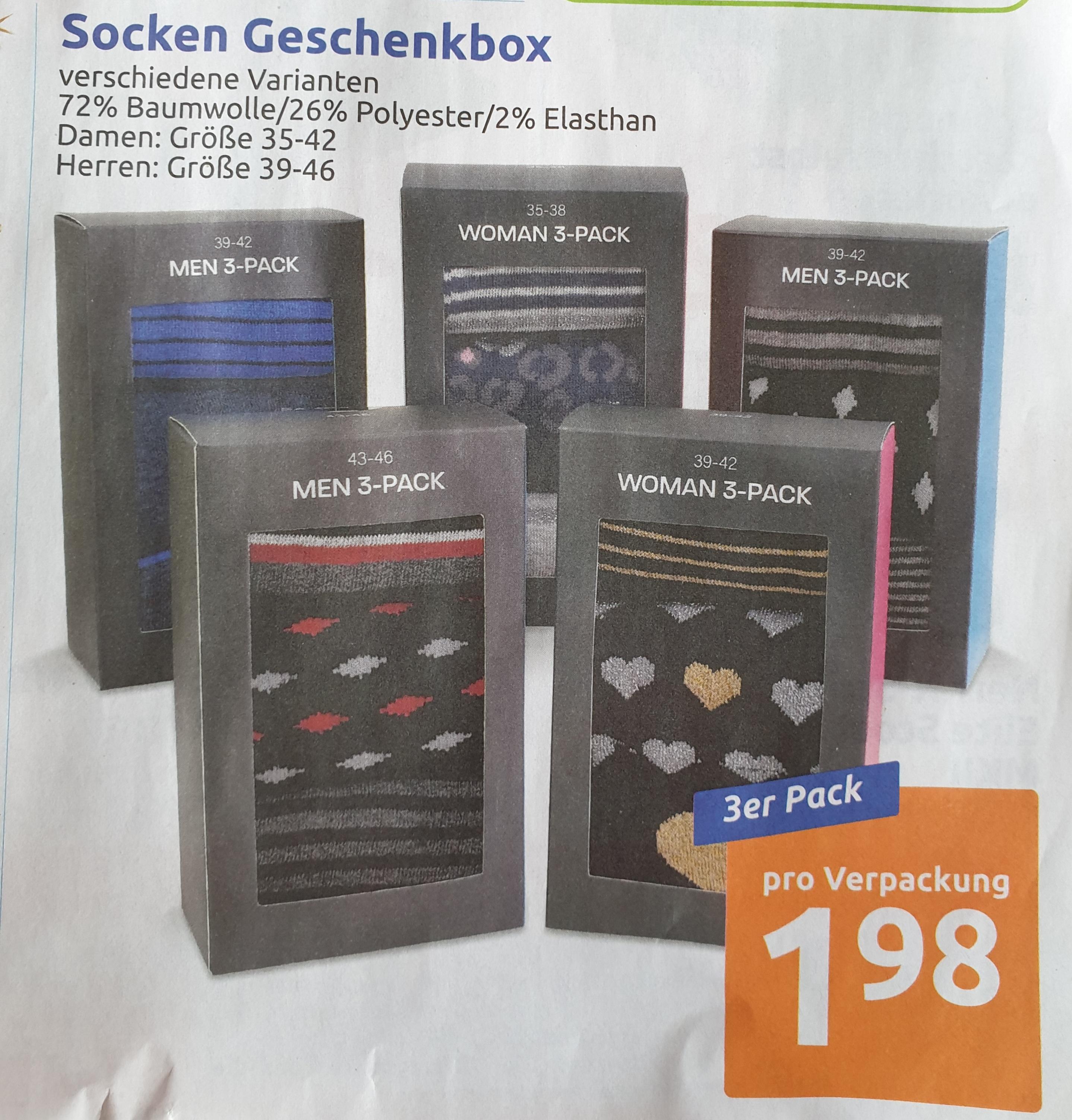 [ Action ] 3er Pack Socken Geschenkbox für Damen/Herren 72% Baumwolle
