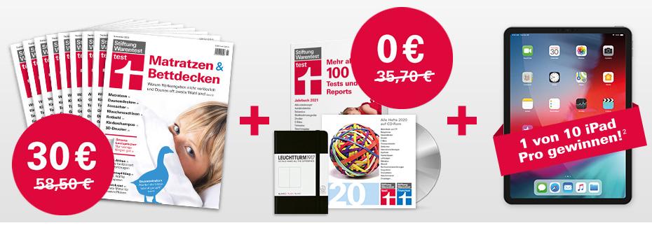 9 Ausgaben Stiftung Warentest Test + Jahrbuch 2021 und Archiv CD 2020 ODER 9 Ausgaben Finanztest mit Steuer Ratgeber oder Archiv CD 2020