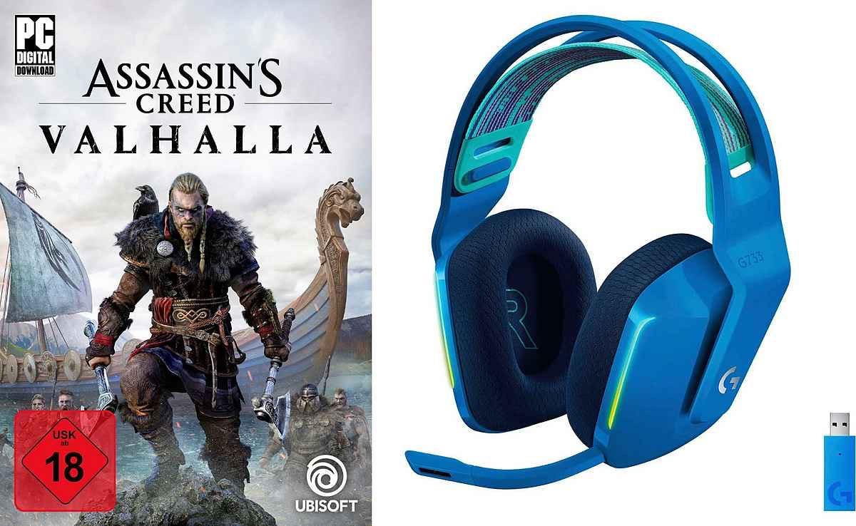 Logitech G »G733 blau + PC Assassin's Creed Valhalla« Gaming-Headset