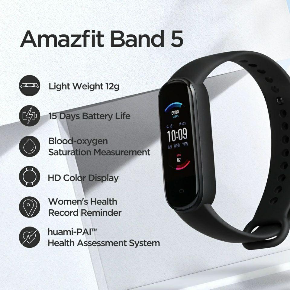 Amazfit Band 5 Smart Armband Globale Version mit Alexa (Versand aus Polen)