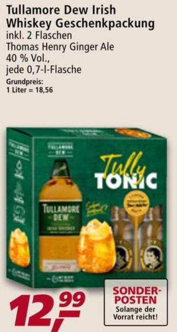 [REAL - LOKAL] Whisk(e)y Deals z.B. Tullamore Dew 0,7 L - inkl. 2 Flaschen Thomas Henry Ginger Ale