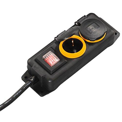 (Prime) Hama Outdoor Steckdosenleiste mit Schalter, 2-fach, 2m (spritzwassergeschützt nach IP44) Außenbereich Mehrfachsteckdose schwarz