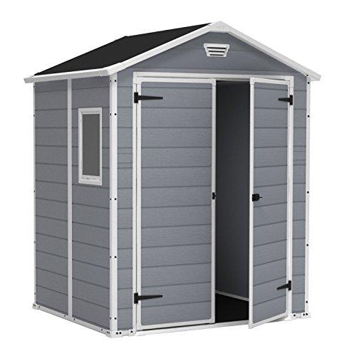 [Amazon] Keter Gerätehaus, Kunststoff, Pultdach, Manor 6x5 DD, Gartenhaus Grau, 4,8m³