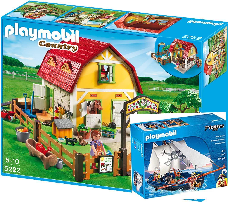 Playmobil 5222 - Ponyhof oder Playmobil 5810 Korsarensegler, real