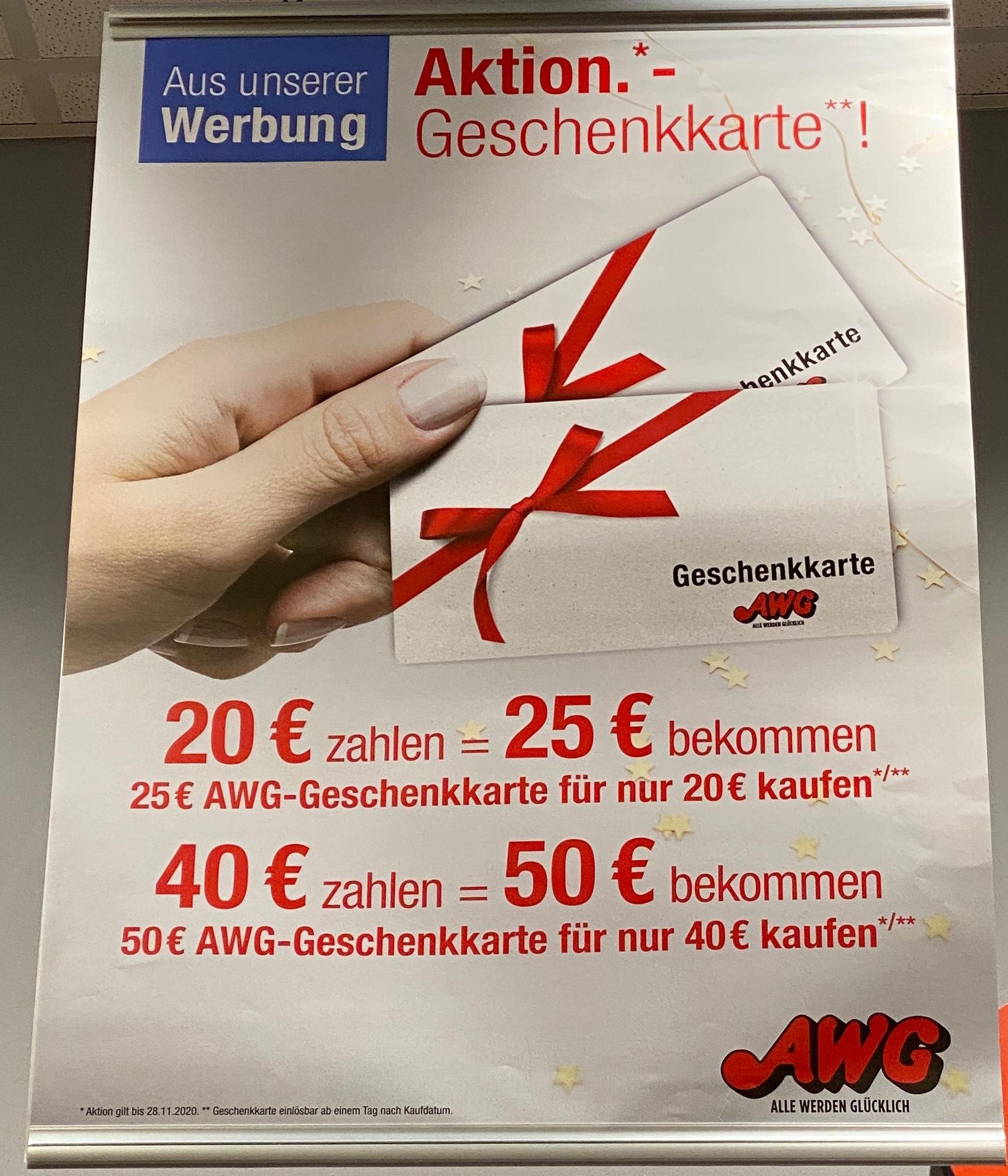 (Bundesweit?) AWG Geschenkkarten mit 20% Rabatt