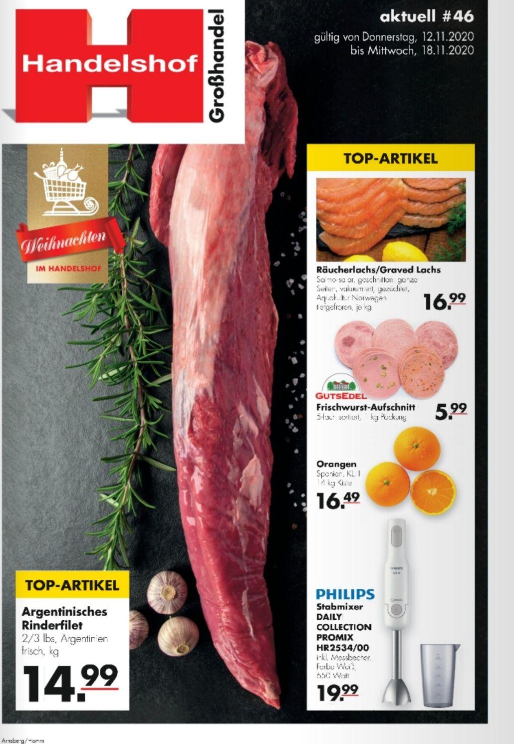 (Handelshof) Argentisches Rinderfilet frisch für 15,74 € pro kg (12.11.-18.11.)