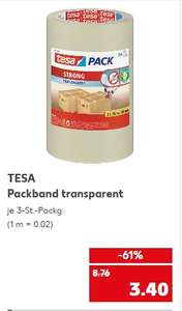 [Kaufland ab 26.11] Tesa Packband transparent (Strong) im 3er Pack für 3,40€