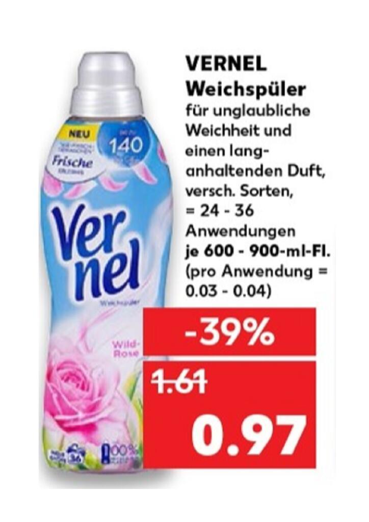 (Kaufland Do-Mi] 3x Vernel Weichspüler mit Coupon für 1,91€