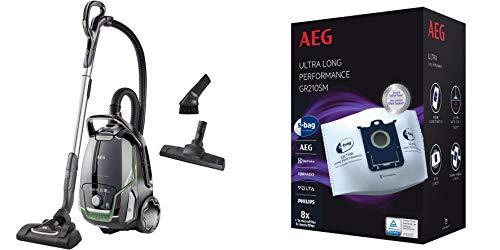 AEG VX9-2-ÖKO Staubsauger + 8 Staubbeutel + Zusatzdüsen, 850 Watt, 65 dB(A), 5l Beutelvolumen, waschbarer Filter