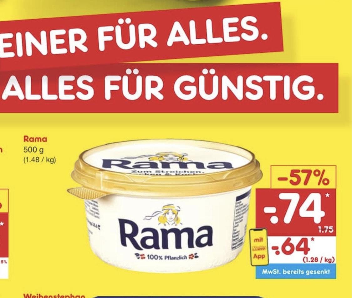 Rama 500g Margarine für 0,64€ bei Netto bei Nutzung der App