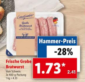 [LIDL FILIALEN] Frische grobe Bratwurst, 400g-Packung